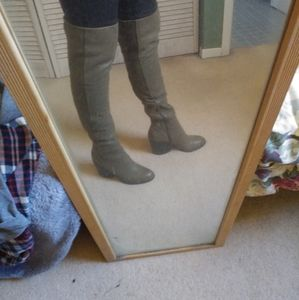 Aldo grey genuine leather over the knee boots